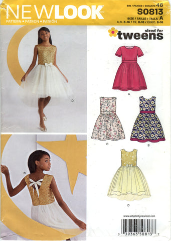 New Look 0813 Girls'/Juniors' Dress Five Sizes in One - A (8-10-12-14-16) - Smiths Depot Sewing Pattern Superstore