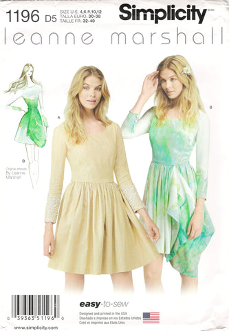 Simplicity 1196 Misses' Easy Dress With or Without Drape - D5 (4-6-8-10-12) - Smiths Depot Sewing Pattern Superstore