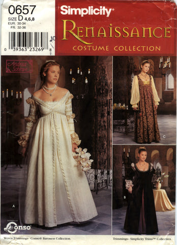 Simplicity 0657 Misses' Renaissance Dress Costume - D (4-6-8) - Smiths Depot Sewing Pattern Superstore