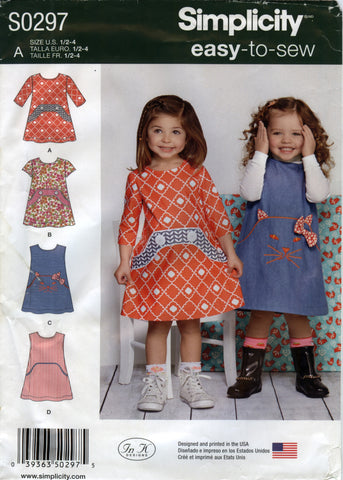 Simplicity 0297 Toddlers' Dress - A (½-1-2-3-4) - Smiths Depot Sewing Pattern Superstore