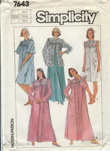 Simplicity 7643 Misses  Pullover Nightgown and Robe and Bed Jacket - -  Smiths Depot Sewing def52f6ee