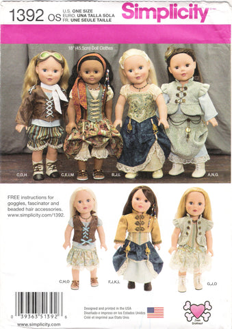 "Simplicity 1392 Doll Clothes for 18"" Doll -  - Smiths Depot Sewing Pattern Superstore"
