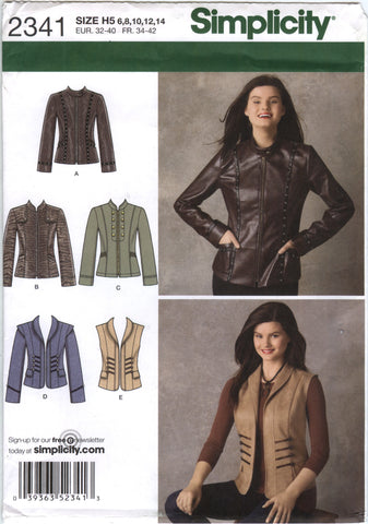 Simplicity 2341 Misses' Jackets and Vest - H5 (6-8-10-12-14) - Smiths Depot Sewing Pattern Superstore  - 2
