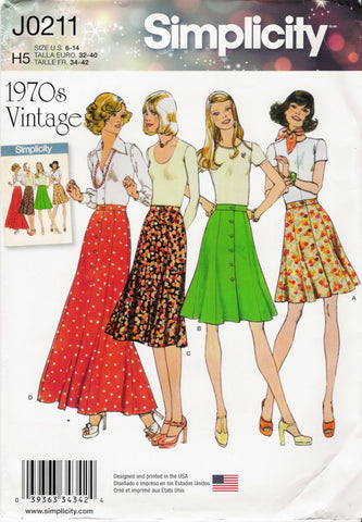 Simplicity 0211 Misses' Front Button Skirt in Four Lengths - H5 (6-8-10-12-14) - Smiths Depot Sewing Pattern Superstore  - 1