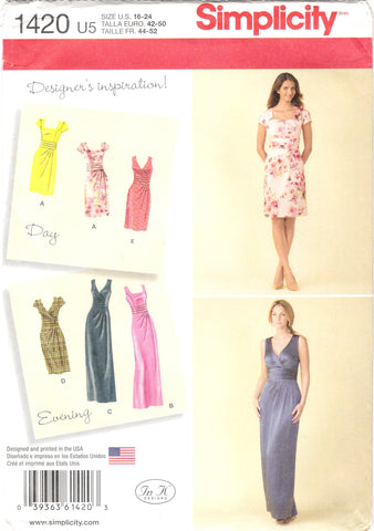 Simplicity 1420 Misses' Dress in Two Lengths with Bodice Variations - U5 (16-18-20-22-24) - Smiths Depot Sewing Pattern Superstore