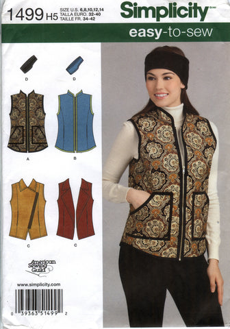 Simplicity 1499 Misses' Vests and Headband in Three Sizes - H5 (6-8-10-12-14) - Smiths Depot Sewing Pattern Superstore