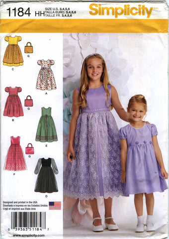Simplicity 1184 Child's/Girls' Purse and Dress with Optional Petticoat - HH (3-4-5-6) - Smiths Depot Sewing Pattern Superstore  - 1
