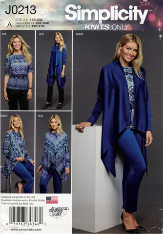 Simplicity 0213 Misses' Knit Top, Pants and Cardigan in Two Lengths -  - Smiths Depot Sewing Pattern Superstore