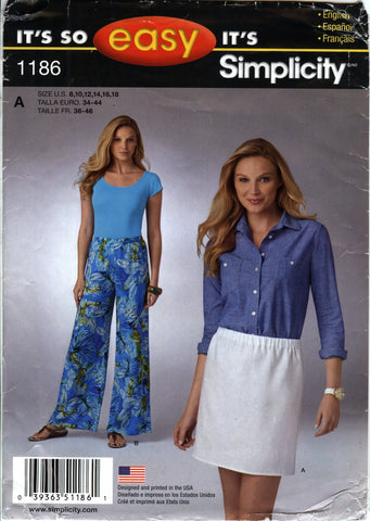 Simplicity 1186 Misses' Pull-On Skirt and Pants - A (8-10-12-14-16-18) - Smiths Depot Sewing Pattern Superstore