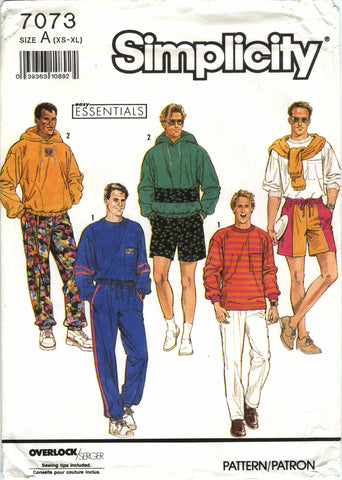 Simplicity 7073 Men's/Teens' Pull-on Pants, Shorts and Pullover Top and Hood - A (XS-S-M-L-XL) - Smiths Depot Sewing Pattern Superstore