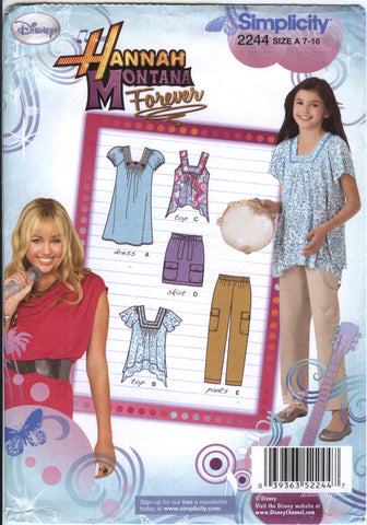 Simplicity 2244 Girls' Pants, Skirt and Knit Dress or Top in Two Lengths - A (7-8-10-12-14-16) - Smiths Depot Sewing Pattern Superstore