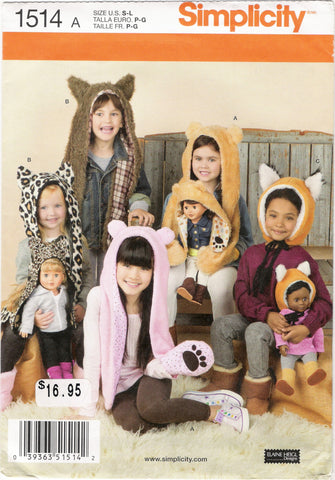 "Simplicity 1514 Child's Animal Hats and Matching 18"" Doll Hats -  - Smiths Depot Sewing Pattern Superstore"