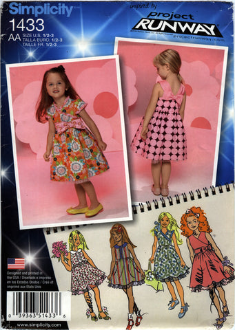 Simplicity 1433 Toddlers'/Child's Dress with Bodice Variations - AA (½-1-2-3) - Smiths Depot Sewing Pattern Superstore