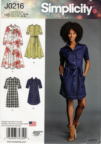 Simplicity 0216 Misses'/Miss Petite Shirt Dresses with Length Variations - H5 (6-8-10-12-14) - Smiths Depot Sewing Pattern Superstore  - 1