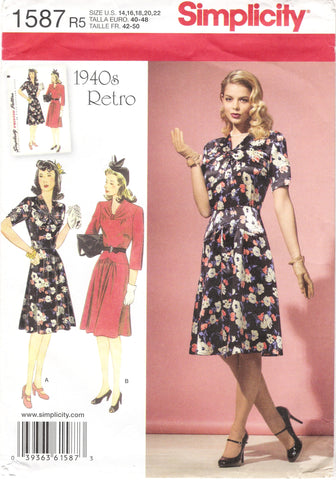 Simplicity 1587 Misses'/Miss Petite 1940's Retro Dress - R5 (14-16-18-20-22) - Smiths Depot Sewing Pattern Superstore