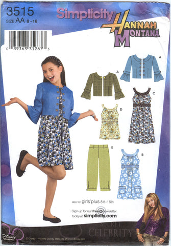 Simplicity 3515 Girls'/Girls' Plus Jacket, Cropped Pants, Dress, Mini Dress or Tunic - AA (8-10-12-14-16) - Smiths Depot Sewing Pattern Superstore