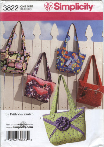 Simplicity 3822 Crafty Hand Bags and Totes -  - Smiths Depot Sewing Pattern Superstore
