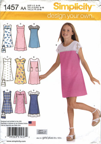 Simplicity 1457 Girls'/Girls' Design Your own Pullover Jumper or Dress in Two Lengths - AA (8-10-12-14-16) - Smiths Depot Sewing Pattern Superstore  - 1