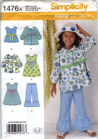 Simplicity 1476 Child's Dress, Top, Pants and Jacket - A (3-4-5-6-7-8) - Smiths Depot Sewing Pattern Superstore