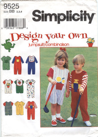 Simplicity 9525 Toddlers' Jumpsuit and Bib - BB (2-3-4) - Smiths Depot Sewing Pattern Superstore
