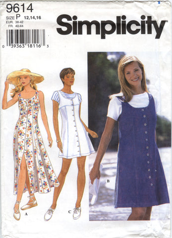 Simplicity 9614 Misses'/Miss Petite Dress or Jumper and Top - P (12-14-16) - Smiths Depot Sewing Pattern Superstore