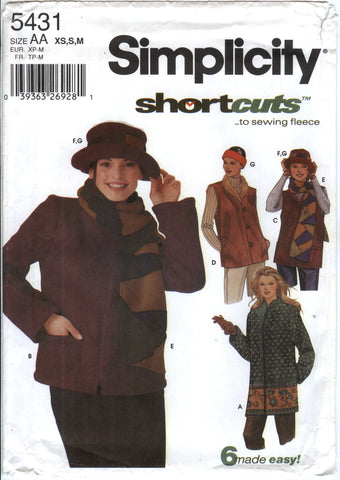 Simplicity 5431 Misses' Jacket in Two Lengths, Vest, Scarf, Hat and Headband -  - Smiths Depot Sewing Pattern Superstore