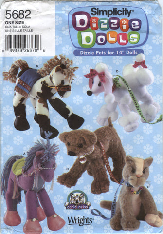 "Simplicity 5682 Stuffed Pets for 14"" Doll -  - Smiths Depot Sewing Pattern Superstore"