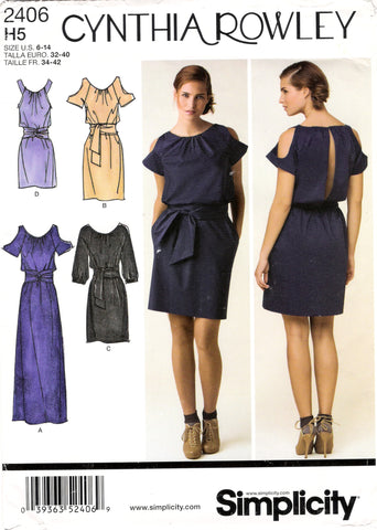 Simplicity 2406 Misses' Dress in Three Lengths with Sleeve Variations - H5 (6-8-10-12-14) - Smiths Depot Sewing Pattern Superstore  - 1