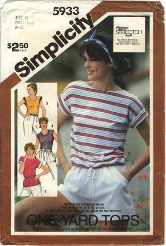 Simplicity 5933 Misses' Stretch Knit Top - N (10-12-14) - Smiths Depot Sewing Pattern Superstore
