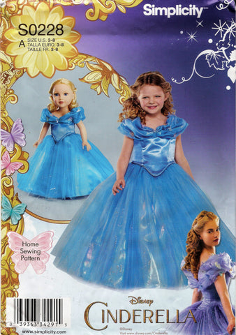 "Simplicity 0228 Child's Costumes and Costume for 18"" Doll - A (3-4-5-6-7-8) - Smiths Depot Sewing Pattern Superstore"