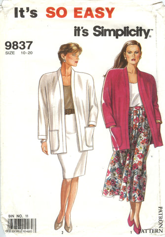 Simplicity 9837 Misses' Pleated Skirt, Slim Skirt and Unlined Jacket - A (10-12-14-16-18-20) - Smiths Depot Sewing Pattern Superstore