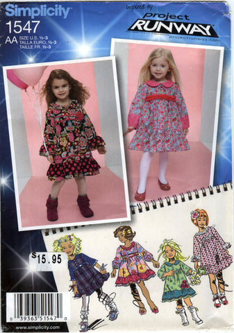 Simplicity 1547 Toddlers/Cild's Dress with Ruffle and Trim Variations - AA (½-1-2-3) - Smiths Depot Sewing Pattern Superstore  - 1