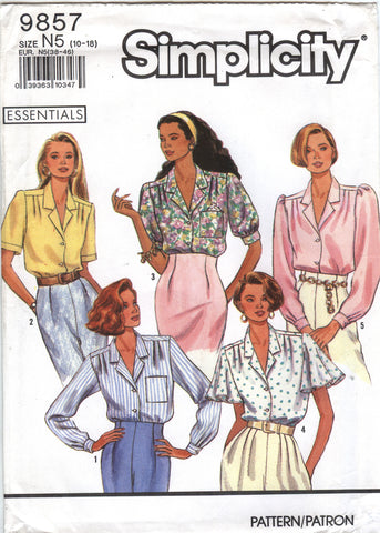 Simplicity 9857 Misses' Blouse with Sleeve Variations - N5 (10-12-14-16-18) - Smiths Depot Sewing Pattern Superstore