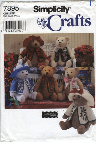 "Simplicity 7895 18"" Bear and Clothes -  - Smiths Depot Sewing Pattern Superstore"