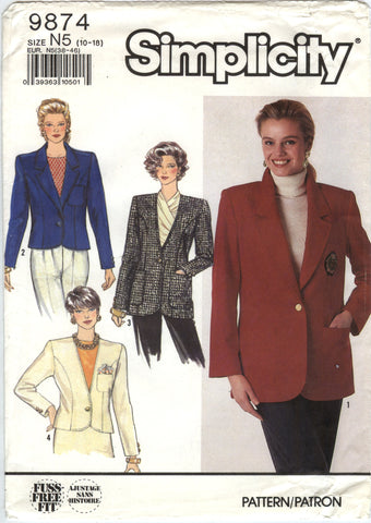 Simplicity 9874 Misses' Lined, Semi-Fitted Jackets in Two Lengths - N5 (10-12-14-16-18) - Smiths Depot Sewing Pattern Superstore