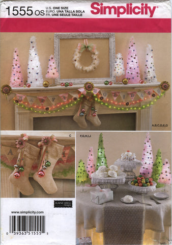 Simplicity 1555 Christmas Decorations -  - Smiths Depot Sewing Pattern Superstore
