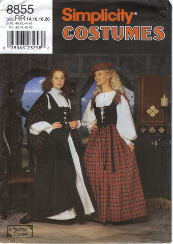 Simplicity 8855 Misses' Costume and Hat - RR (14-16-18-20) - Smiths Depot Sewing Pattern Superstore