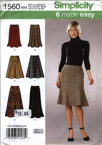Simplicity 1560 Misses' Skirts Each in Two Lengths - HH (6-8-10-12) - Smiths Depot Sewing Pattern Superstore  - 1