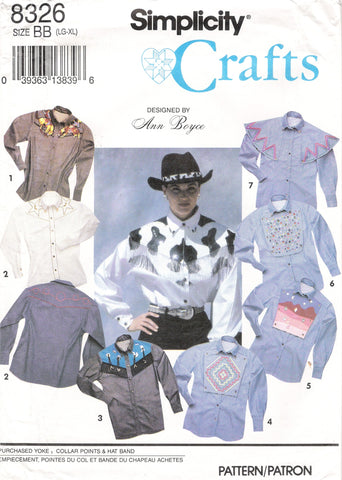 Simplicity 8326 Misses'/Men's/Teen/Boys' Western Shirt - BB (L-XL) - Smiths Depot Sewing Pattern Superstore