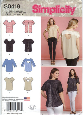 Simplicity 0419 Misses' Tops with Fabric Variations - A (4-6-8-10-12-14-16-18-20-22-24-26) - Smiths Depot Sewing Pattern Superstore