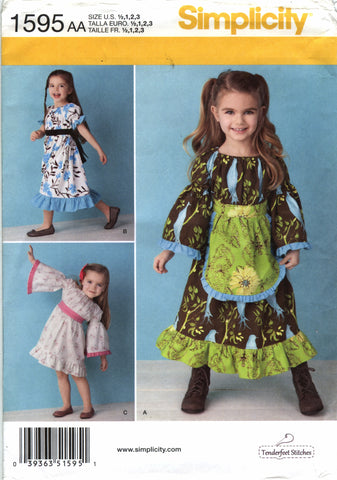 Simplicity 1595 Toddlers'/Child's Dress in Two Lengths -  - Smiths Depot Sewing Pattern Superstore
