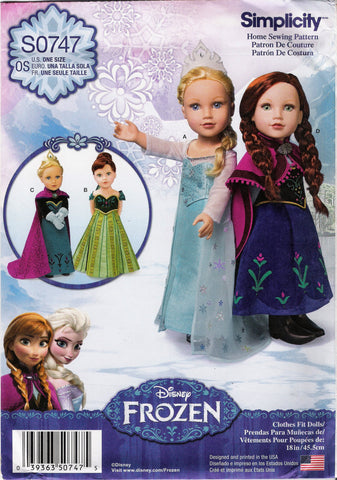 "Simplicity 0747 Disney Frozen Fashion 18"" Doll Clothes -  - Smiths Depot Sewing Pattern Superstore"