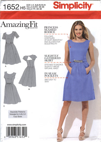 Simplicity 1652 Misses'/Miss Petite Dress with Individual Pattern Pieces for A,B,C,D Cup Sizes - H5 (6-8-10-12-14) - Smiths Depot Sewing Pattern Superstore  - 1