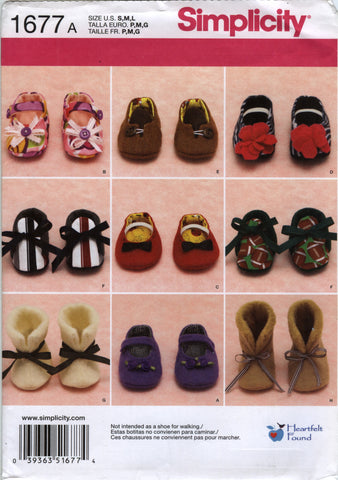 Simplicity 1677 Baby Shoes in Three Sizes -  - Smiths Depot Sewing Pattern Superstore