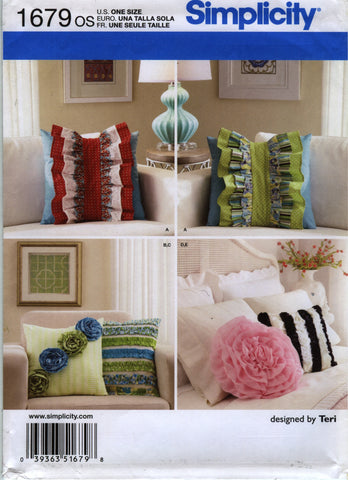 Simplicity 1679 Pillow in Five Styles -  - Smiths Depot Sewing Pattern Superstore
