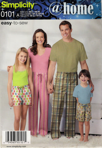 Simplicity 0101 Child's/Teens'/Adults' Pants and Shorts in Two Lengths Sleepwear Pajamas -  - Smiths Depot Sewing Pattern Superstore