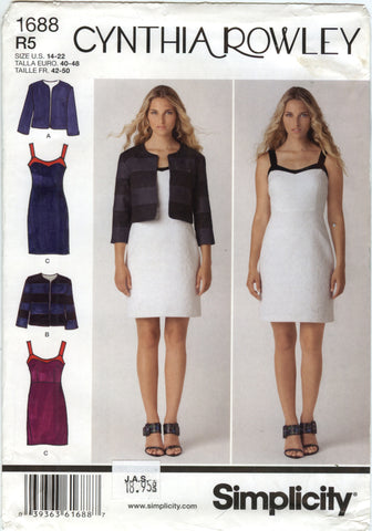 Simplicity 1688 Misses' Dress and Jacket - R5 (14-16-18-20-22) - Smiths Depot Sewing Pattern Superstore