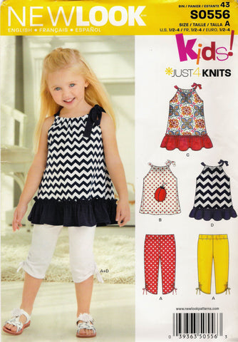 New Look 0556 Toddler's Five Sizes in One - A (½-1-2-3-4) - Smiths Depot Sewing Pattern Superstore