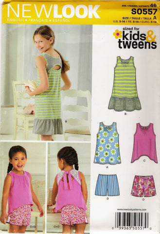 New Look 0557 Child's/Girls' Nine Sizes in One - A (3-4-5-6-7-8-10-12-14) - Smiths Depot Sewing Pattern Superstore