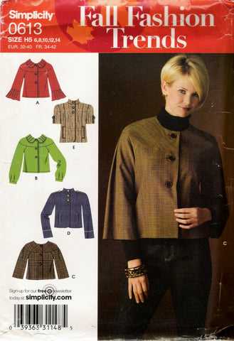Simplicity 0613 Misses' Jackets - H5 (6-8-10-12-14) - Smiths Depot Sewing Pattern Superstore